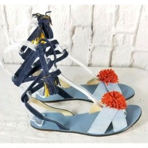 J Crew Blue Ankle Tie Sandals Shoes Sz 8.5 Leather